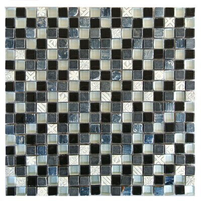 """Quartz 0.63"""" x 0.63"""" Glass and Stone Mosaic Tile in Gray and White"""
