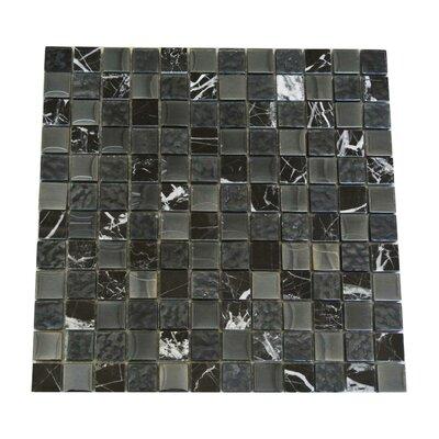 "Quartz 1"" x 1"" Glass and Stone Mosaic Tile in Black"
