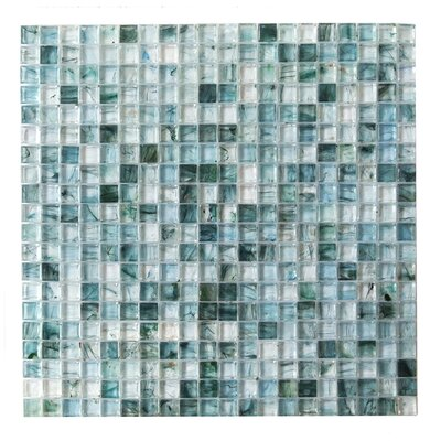 """4D Cube 0.63"""" x 0.63"""" Glass Mosaic Tile in Blue"""