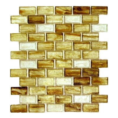 """Classic Recycled 11.88"""" x 10.75"""" Glass Mosaic Tile in Brown Gold"""