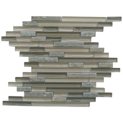 New Era II Random Sized Glass and Slate Mosaic Tile in Shell Gray
