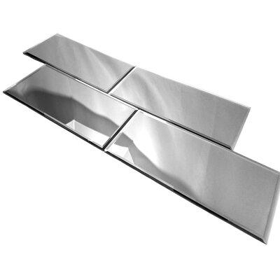 """Echo 16"""" x 8"""" Beveled Glass Field Tile in Silver"""