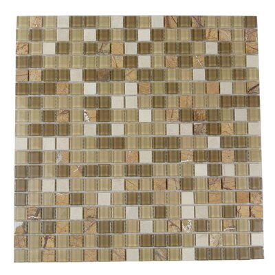 "Crystal Stone 0.63"" x 0.63"" Glass Mosaic Tile in Glazed Amber Grain"