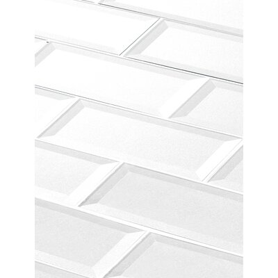"Secret Dimensions 3"" x 12"" Glass Subway Tile in Glossy White"