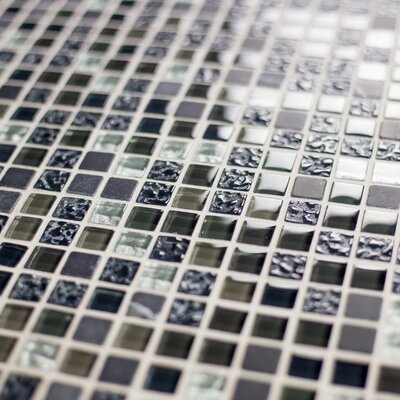 """Quartz 0.63"""" x 0.63"""" Glass and Stone Mosaic Tile in Navy Blue"""