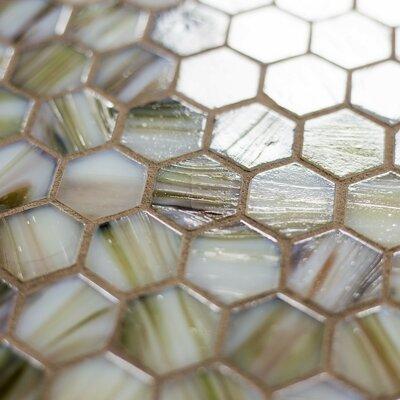 "Hexagon 11.33"" x 10.75"" Glass Mosaic Tile in Beige Mix"
