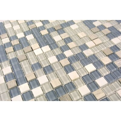 """Crystal Stone 0.63"""" x 0.63"""" Glass Mosaic Tile in Glazed Angle Feather"""