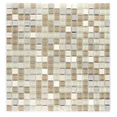 """Crystal Stone 0.63"""" x 0.63"""" Glass Mosaic Tile in Beige Mix"""