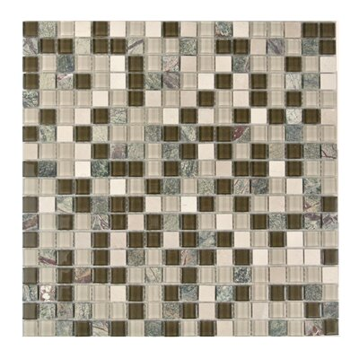 """Crystal Stone 0.63"""" x 0.63"""" Glass Mosaic Tile in Glazed Forest Walk"""