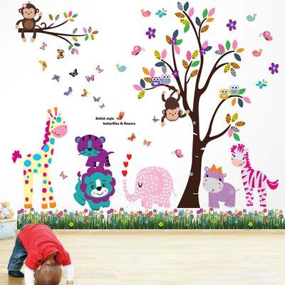Walplus Animal Colourful Tree Children's Wall Sticker