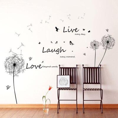 Walplus Dandelion with Quote Live Laugh Love Wall Sticker