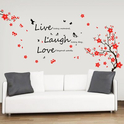 Walplus Flower Blossom with Butterflies and Quote Live Laugh Love Wall Sticker