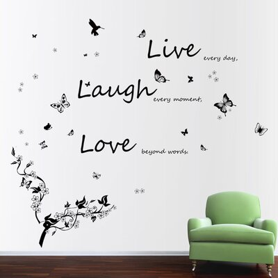 Walplus Dancing Butterflies and Quote Live Laugh Love Wall Sticker
