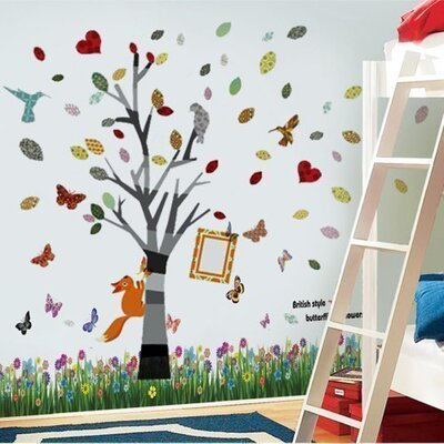 Walplus Colourful Tree Photo Frame and Butterflies Wall Sticker