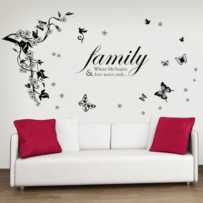 Walplus Butterflies Vine Family Quote Wall Sticker for Living Room Wall Sticker