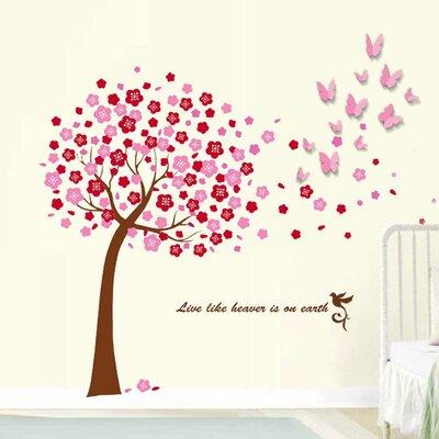 Walplus Pink Tree and 3D Pink Butterflies Art Wall Sticker
