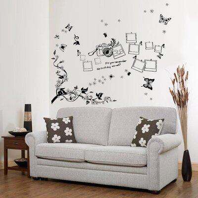 Walplus Butterfly Vine Photo Frame Living Room Wall Sticker