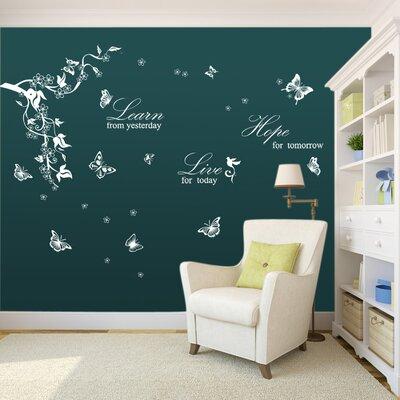 Walplus Butterflies Vine Learn Live Hope Quote Wall Sticker