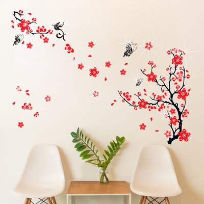 Walplus Swarovski Red Blossom Flowers and Butterflies Wall Sticker