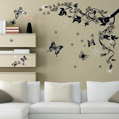 Walplus Swarovski Black Butterfly Vine Art Wall Sticker