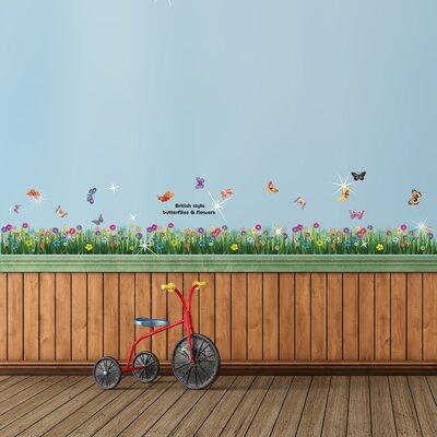 Walplus Swarovski with Colourful Butterfly Grasses for Nursery Wall Sticker