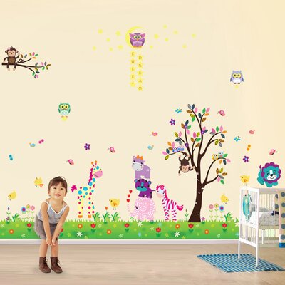 Walplus Happy Animal with Owl and Tree Room Wall Sticker