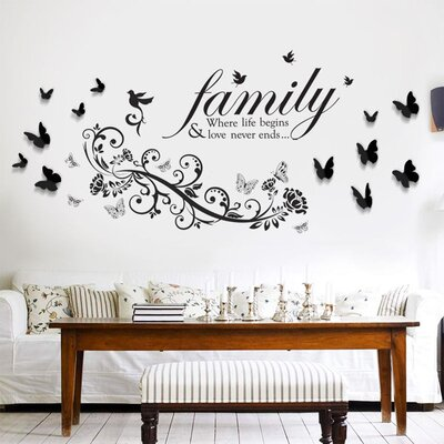 Walplus Quote 3D Butterfly Family Bird Wall Sticker