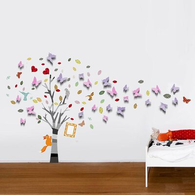 Walplus 3D Butterflies with Colourful Photo Frame Tree Wall Sticker
