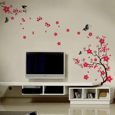 Walplus Pink Blossom Flower Art with Tree Branches Wall Sticker