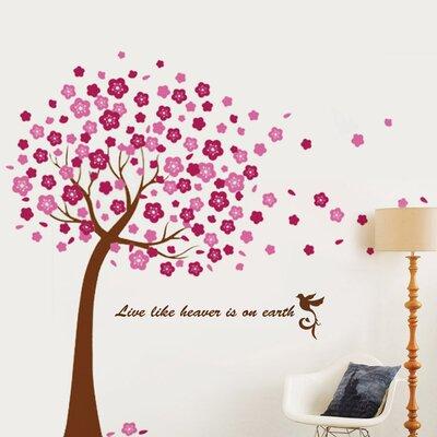 Walplus Pink Cherry Blossom Flowers Tree Art Wall Sticker
