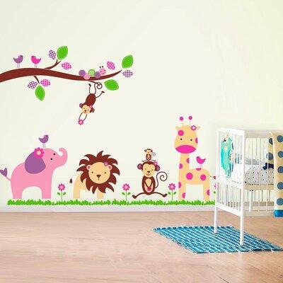 Walplus Pink Elephant with Tiger Nursery Room Wall Sticker