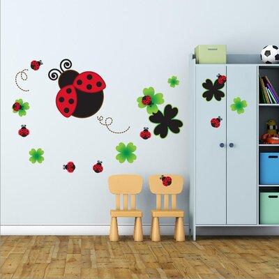 Walplus Blackboard Lady Bug and Bird Wall Sticker