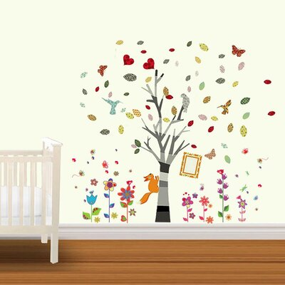Walplus Photo Tree with Colourful Flowers and Butterflies Wall Sticker