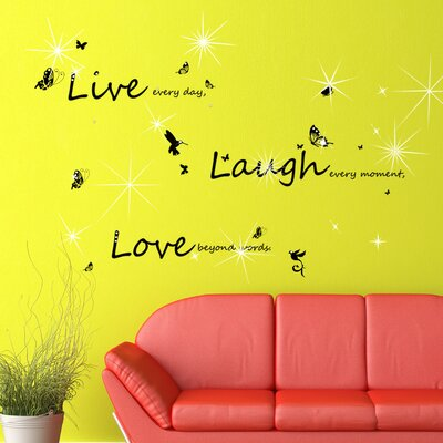 Walplus Swarovski with Quote Live Laugh Love for Living Room Wall Sticker