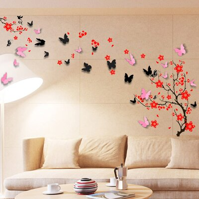 Walplus Red Blossom with Black 3D Butterflies Children Wall Sticker