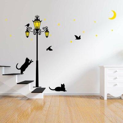 Walplus Glow In Dark Street Light with Cats Wall Sticker