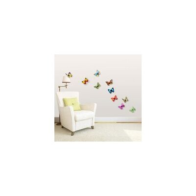 Walplus 3D Colourful Butterfly Shine Effect Wall Sticker