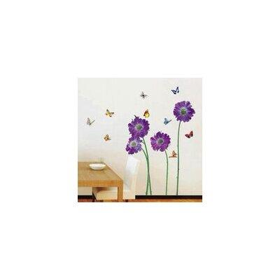 Walplus Purple Flower Petal with Colourful Butterflies Wall Sticker