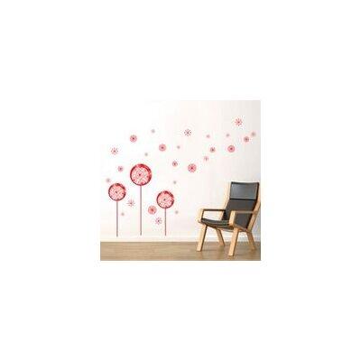Walplus Red Dandelion, Butterflies and Bird Wall Sticker