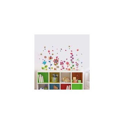 Walplus Colourful Flowers with Butterflies and Grass Wall Sticker