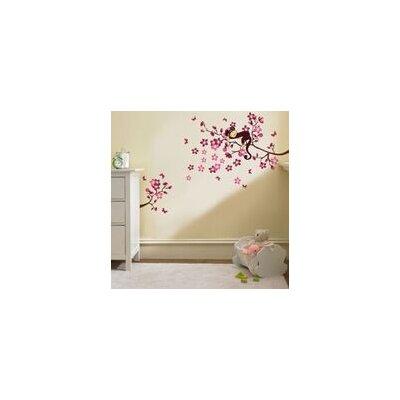Walplus Pink Monkey Blossom Wall Sticker