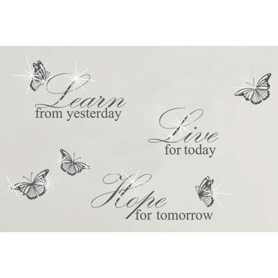 Walplus Swarovski with Grey Learn Live Hope Quote for Living Room Wall Sticker