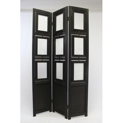 3 Panel Room Divider Color: Black
