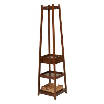 Eberhardt 3 Tier Solid Wood Coat Rack with 1 Drawer and 1 Basket