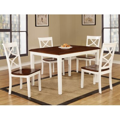 Baum Two-Tone Solid Wood 5 Piece Dining Set Finish: Cherry/White