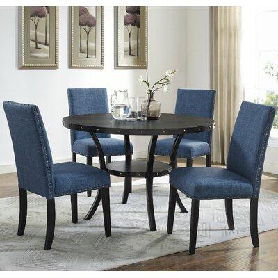 Amy Espresso 5 Piece Dining Set Upholstery: Blue