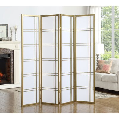 Lana 4 Panel Room Divider Finish: Gold