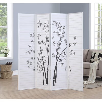 Worthville 4 Panel Room Divider Color: White