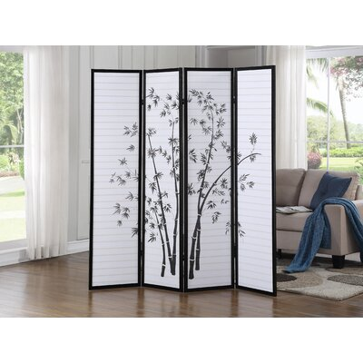 Worthville 4 Panel Room Divider Color: Black