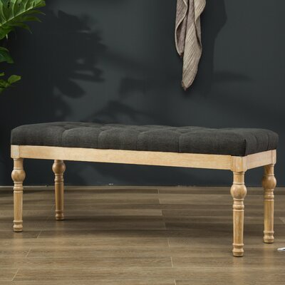 Brockwell Button Tufted Wood Bench Color: Charcoal